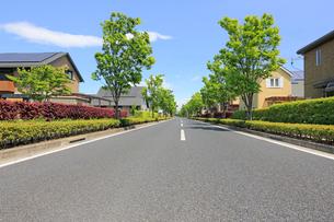 ソーラーパネルを設置した住宅街と道路の写真素材 [FYI02358162]