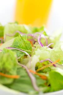 野菜サラダとオレンジジュースの写真素材 [FYI02358353]