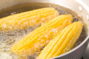 トウモロコシを湯でるの写真素材 [FYI02358736]
