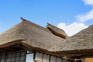 大内宿の茅葺屋根の写真素材 [FYI02359231]