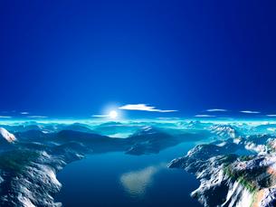 惑星の地形と空のイラスト素材 [FYI02359850]