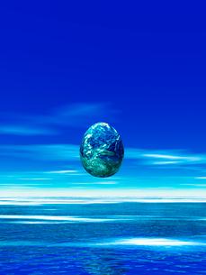 卵型の地球と海 CGのイラスト素材 [FYI02359914]