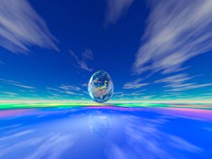 卵型の地球と駆け抜ける雲 CGのイラスト素材 [FYI02359939]