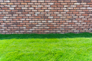 レンガの壁と芝生の写真素材 [FYI02360117]