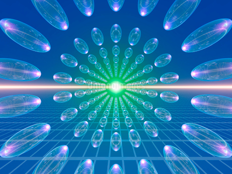 整列した透明な球体の写真素材 [FYI02363470]