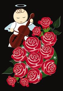 天使とバラのクリスマスイメージ イラストのイラスト素材 [FYI02393211]