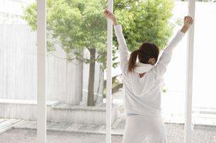 伸びをする女性の写真素材 [FYI02398959]