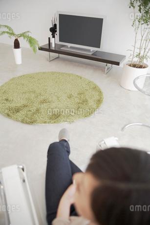 テレビと観葉植物のある部屋の写真素材 [FYI02400066]