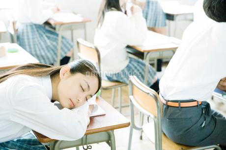 授業中に居眠りをする女子生徒の写真素材 [FYI02400184]