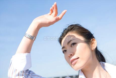 手をかざす女性の写真素材 [FYI02402481]
