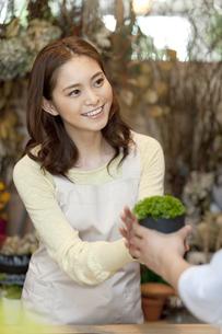 花屋で働く女性店員と客の写真素材 [FYI02412132]