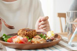 ダイニングテーブル上のコロッケと女性の写真素材 [FYI02422450]