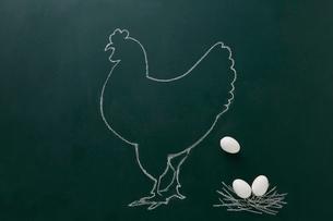 黒板に白いチョークで描いた鶏と卵のイラスト素材 [FYI02422575]