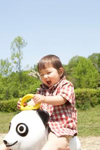 パンダの遊具で遊ぶ幼児の写真素材 [FYI02425826]