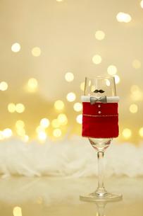 クリスマスの衣装を着たひとつのシャンパングラスの写真素材 [FYI02428353]