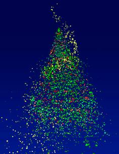 宙を舞うクリスマスツリーの写真素材 [FYI02428442]