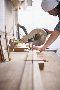 押し切りで木材を切る男性の写真素材 [FYI02428971]