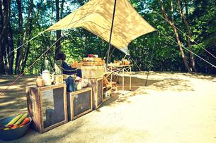 キャンプをする女性の写真素材 [FYI02429002]