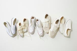 一列に並んだ複数の白いスニーカーの写真素材 [FYI02433333]