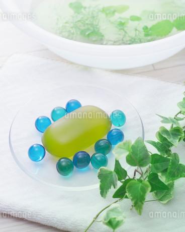 ハーブが浮かぶ洗面器とタオルの上のバスグッズと植物の写真素材 [FYI02433608]
