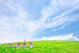 太陽光発電ソーラーパネル付の家のクラフトの写真素材 [FYI02435081]