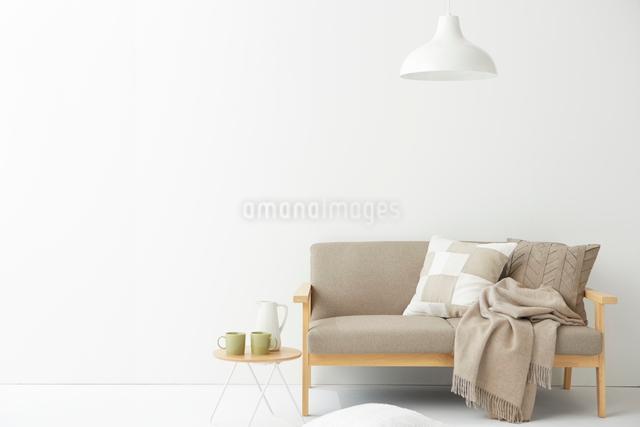真っ白なリビングルームの写真素材 [FYI02436012]
