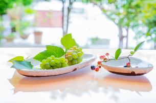 白い陶器の器とブルーベリーとブドウの写真素材 [FYI02438009]