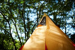 キャンプ場に貼られたティピー型のテントの写真素材 [FYI02447676]