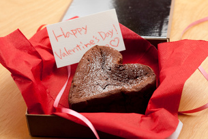 ハッピーバレンタインハートのガトーショコラの写真素材 [FYI02448392]