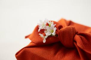 朱色の風呂敷で包んだ手土産の写真素材 [FYI02449349]