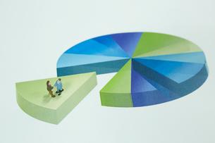 円グラフの上に立つ2個のサラリーマンの人形の写真素材 [FYI02449434]