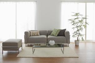 グレーのソファーが在るリビングの写真素材 [FYI02449887]