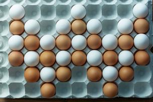卵パックに並べられた2色の卵の写真素材 [FYI02450291]