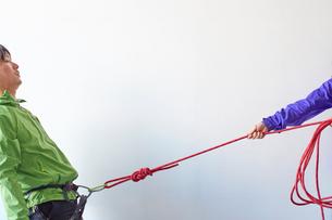 白い壁の前でカラビナがかかったハーネスを引っ張られる登山者の写真素材 [FYI02451709]