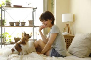 ベッドで小型犬と過ごす若い女性の写真素材 [FYI02455093]