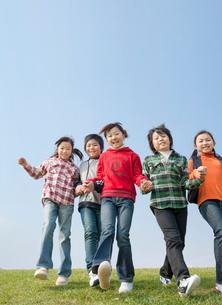 芝生を歩く小学生の男の子2人と女の子3人の写真素材 [FYI02457004]