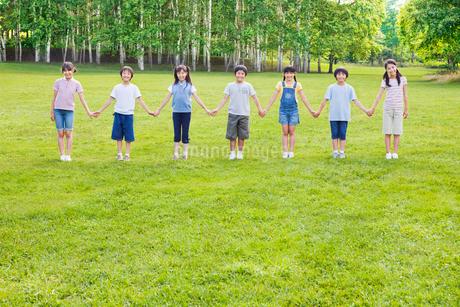 緑の中で手をつなぐ7人の小学生の男の子と女の子の写真素材 [FYI02457994]