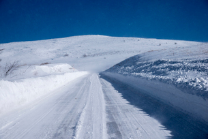 地吹雪の霧ヶ峰ビーナスラインの写真素材 [FYI02460509]