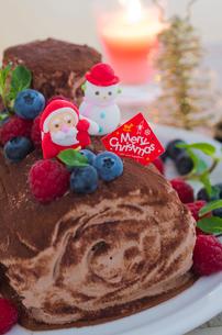 ブッシュドノエルのデコレーションクリスマスケーキの写真素材 [FYI02463901]