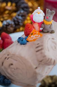 ブッシュドノエルのデコレーションクリスマスケーキの写真素材 [FYI02464024]