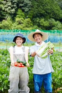 畑で野菜を持つ男女の写真素材 [FYI02465241]