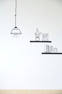 マスキングで作ったペンダントライトと棚の小物のイラスト素材 [FYI02466327]