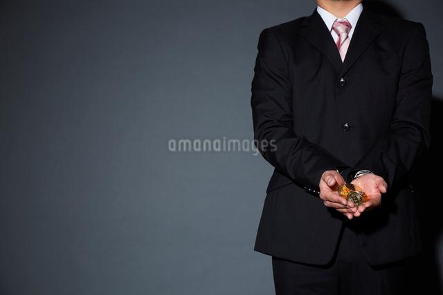 ビットコインを持ったスーツを着た男性の写真素材 [FYI02466824]