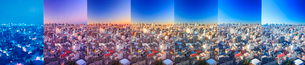 浅草から望む七色に変化する都心のビル群,夜朝昼景の写真素材 [FYI02467129]