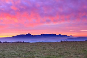 朝焼けの牧草地と八ケ岳連峰と富士山の写真素材 [FYI02468216]