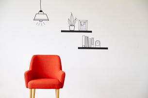 赤い椅子とマスキングテープで作ったペンダントライトのイラスト素材 [FYI02468450]