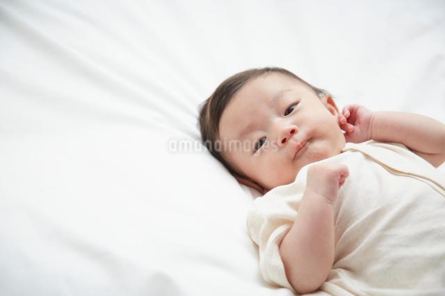 白いシーツの上で寝ている赤ちゃんの写真素材 [FYI02470212]