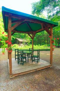 麓郷の森の東屋と黒板五郎の丸太小屋の写真素材 [FYI02471193]