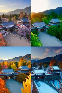 上田城の夕景の春夏秋冬の写真素材 [FYI02473291]