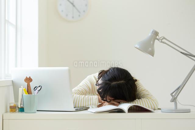 パソコンを開いて居眠りをする女子学生の写真素材 [FYI02478831]
